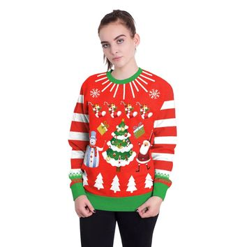 Snowman Christmas Tree Print Women Scoop Party Sweatshirt