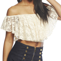 Lace Peasant Crop Top | Arden B.