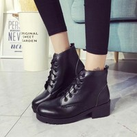 On Sale Hot Deal Thick Crust Winter England Style Vintage Dr. Martens Boots [7993610497]