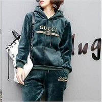 Gucci Hoodie Top Sweater Pullover Pants Trousers Set Two-Piece Sportswear Green