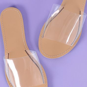 Wild Diva Lounge Open Toe Transparent Slide Sandal