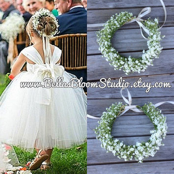 Flower Girl Headpiece Flower girl crown Bun wrap babys breath crown Fresh Flower Crown Toddler flower crown White flower crown Etsy