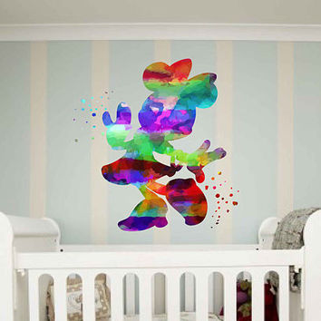 kcik2114 Full Color Wall decal Watercolor Character Disney Minnie Mouse children's room Sticker Disney