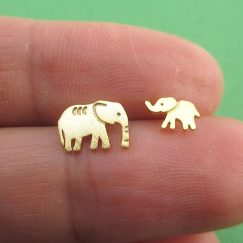 Tiny Mother and Baby Elephant Shaped Allergy Free Stud Earrings in Gold