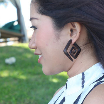 Ethnic Square brown Tribal Spiral Wooden Fake Gauge Earrings