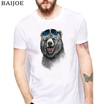 2017 Fashion Laughing Bear Men T-shirt Short sleeve men The Happiest Bear Retro Printed T Shirts Casual Funny Tops Tees