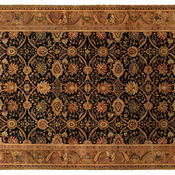 10'x14' Agra Rug, Black/Gold, Area Rugs