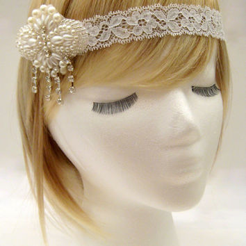 The Louisa - Lace headpiece, Gatsby wedding headpiece, 1920s bridal hairpiece, art deco wedding hair, flapper bride, 1920s style wedding