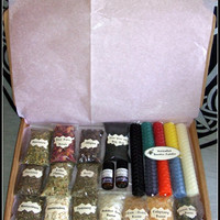 Witch Supply Set Wiccan Supply Kit Altar Set Beeswax Candles Handrolled Herbs Resins 2 Essential Oils Ritual Set Pagan Supplies Wicca Witch