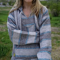 Mexican Threads Baja Drug Rug Hoodie Pullover Sweatshirt | Baja Jacket Poncho | Boho Gypsy - Grey Blue