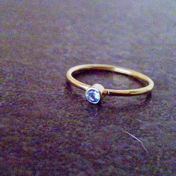 SALE!Slim topaz ring ,bezel ring, Tiny Blue topaz band, December ring,Gold bezel ring,Stacking ring, wedding ring, bridal jewelry