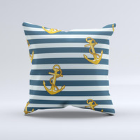 Navy Striped with Gold Anchors Ink-Fuzed Decorative Throw Pillow