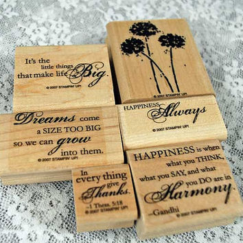"Stampin Up Rubber Stamps - NEAR MINT Stampin Up  -- ""Happy Harmony"" Phrase Set - Great for Scrapping, Cardmaking, Crafts"