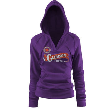Clemson Tigers Women's Rugby Distressed Deep V-Neck Pullover Hoodie – Purple