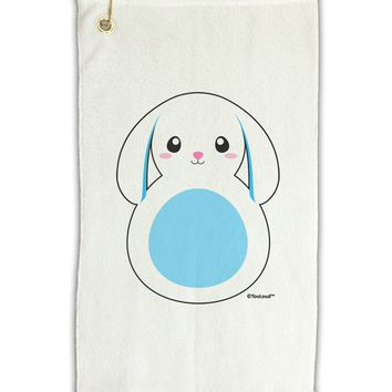 "Cute Bunny with Floppy Ears - Blue Micro Terry Gromet Golf Towel 11""x19 by TooLoud"