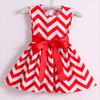 Chevron Cotton Print Bow Dress Girls