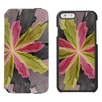 Joy, Pink Green Anthracite Fantasy Flower Fractal iPhone 6/6s Wallet Case
