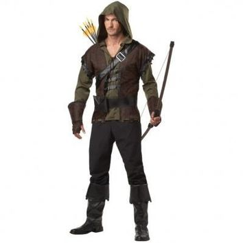 2015 Mens Robin Hood Prince Of Thieves Peter Pan Fancy Dress Costume only top shirt  Free Shipping
