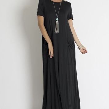 Extra long dress w/ front pockets