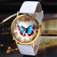 Fashion Watches Women Men Faux Leather Quartz Watch Butterfly Printed Roman Numerals Dial Clock Relogio Casual Dress Watches
