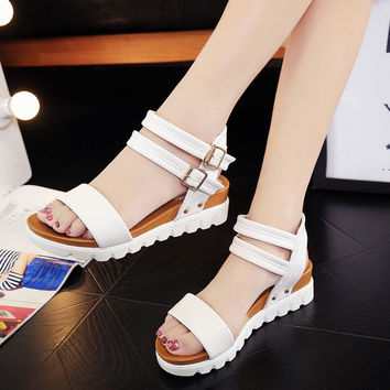Summer Shoes Woman Hot Selling Sandals Women 2017 Peep-toe Flat Shoes Roman Sandals Women Sandals flip flops Sandalias F80