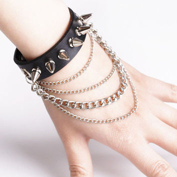 Spike Charm Bracelet Metal Rivet Wristbands Bracelet Jewelry Punk Style Man PU Leather Charm Bracelet HB88