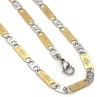 Stainless Steel 04.113.0039.24 Necklace and Bracelet, Mariner Design, Diamond Cutting Finish, Two Tone