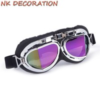 NK DECORATION Helmet Steampunk Glasses Motorcycle Flying Goggles Vintage Pilot Biker Eyewear Goggles Protective Gear Glasses