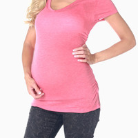 Coral Short Sleeve Maternity Tee