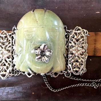 Mexican Mask Bracelet Sterling Silver Folk Art