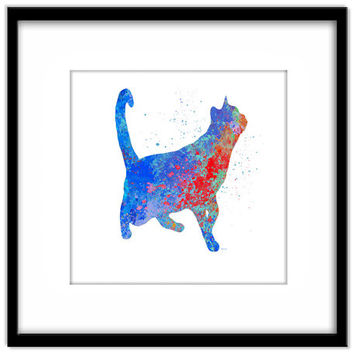 Printable Poster, Colourful Cat Art, Blue Spatter Cat, Wall Art