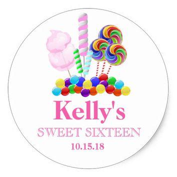 Candyland candy Theme Sweet 16 Favor Labels