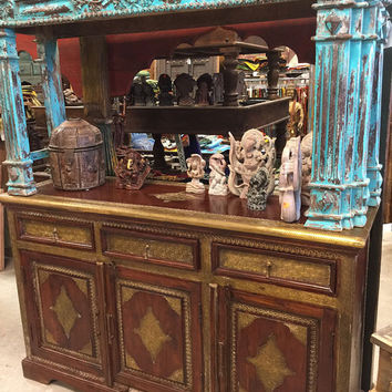 Antique Dresser Furniture Drawer Chest Cabinet Brass Sideboard moroccan style Indian Furniture