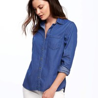Classic Chambray Shirt for Women | Old Navy