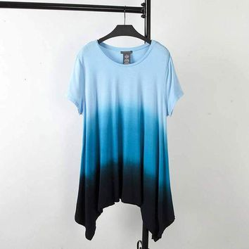 DCCKLW8 S46 Summer Casual Women T-shirt Plus Size Woman Clothes Short Sleeve Irregular hem Stretch Tops Fashion Gradient Color Tees