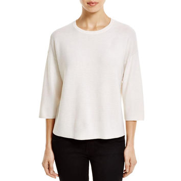 Magaschoni Womens Silk Knit Crop Sweater