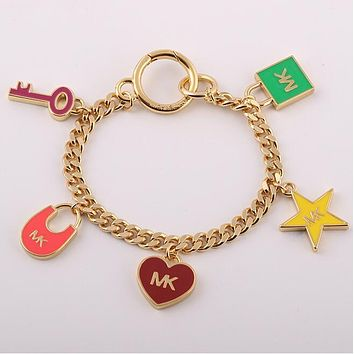 "MK ""MICHAEL KORS"" New Popular Women Enamel Glaze Heart Key Star Lock Pendant Bracelet Hand Catenary I13032-1"