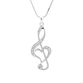 Crystal Treble Clef Music Note Necklace