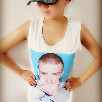 Justin Timberlake Pattern Shirt Crop Top Tank Tops T-Shirt , Women Sexy Hipster Shirt , Custom Photo T-Shirt