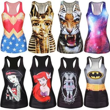 ICIKHY9 Women Casual Multi-Color Gothic Punk Clubwear  T-Shirt Print Tank Top Vest Blouse