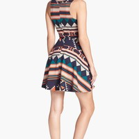 dee elle Geometric Pattern Skater Dress (Juniors) | Nordstrom