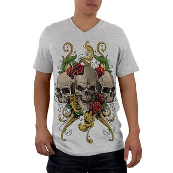 Skulls and Roses Tattoo Mens Soft V-Neck T Shirt