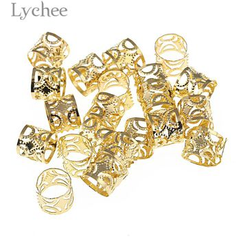 Lychee 20pcs Hip Hop Alloy Hollow Hair Braid Dread Dreadlock Beads Clips Cuff Gold Color Silver Color Headwear Jewelry Men Women