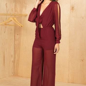 Sheer Thing Wine Jumpsuit- FINAL SALE