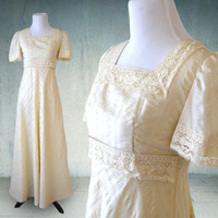 1960s Boho Maxi Dress Ivory with Crochet Trim Edwardian Dress