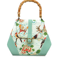 Light Green Birds & Butterflies Tiki Purse