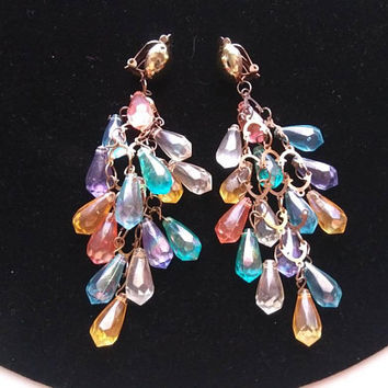 ON SALE Long Dangle Lucite Vintage Drop Earrings Blue Pink Clear Yellow Purple Beaded Jewelry