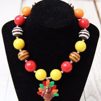 Thanksgiving Turkey Chunky Necklace
