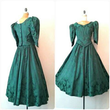 Vintage 1980s Dark Green Floral 2pc Dress, Victorian Dress, Forest Green Brocade Gown, Vintage Formalwear, Renaissance, Medium Green Dress