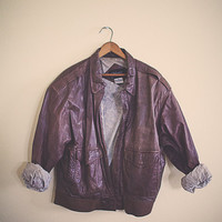 Vintage 80's Bomber Brown Leather Jacket Brown Women's Size Medium Insulated Fully Lined Flight Coat 90s Leather bomber